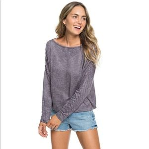 Roxy Your Time Striped Wrap Back Tee XS NWT
